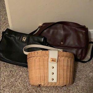 Set of 3 Etienne Aigner purses - 2 leather 1 Ratan